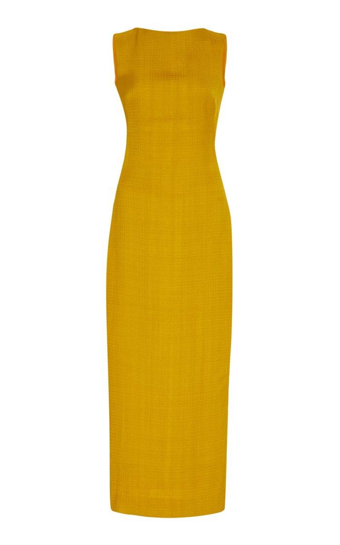 Stretch-Linen Midi Sheath Dress