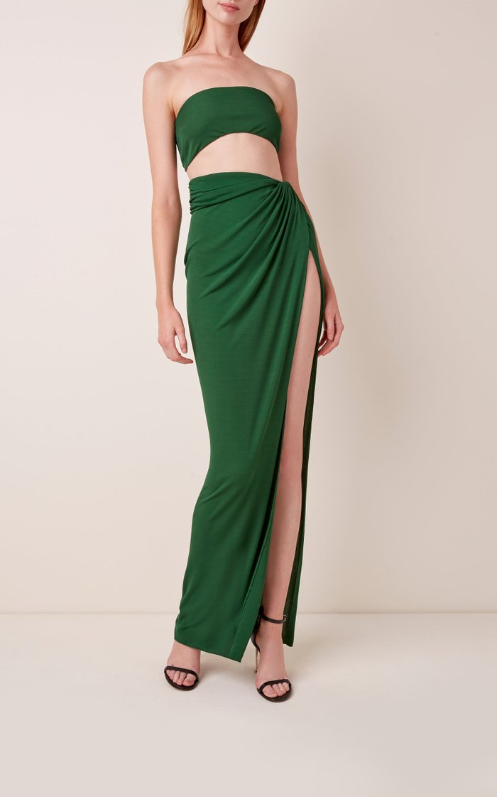 Side-Slit Draped Jersey Maxi Skirt