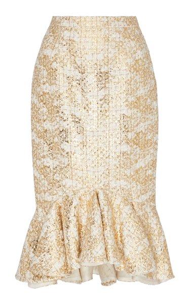 Ruffle Hem Metallic Tweed Pencil Skirt