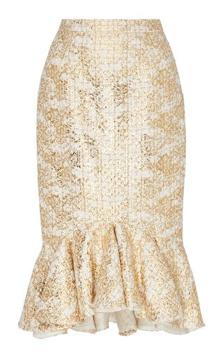 Ruffle Hem Metallic Tweed Pencil Skirt
