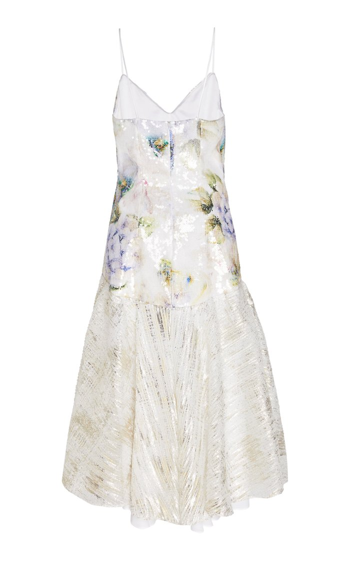 Floral-Print Sequin Lamé Slip Dress