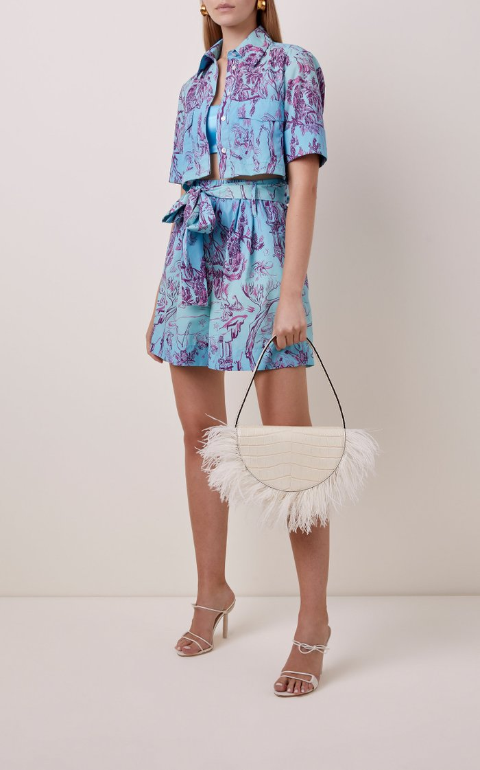 Amal Ostrich Feather Leather Shoulder Bag
