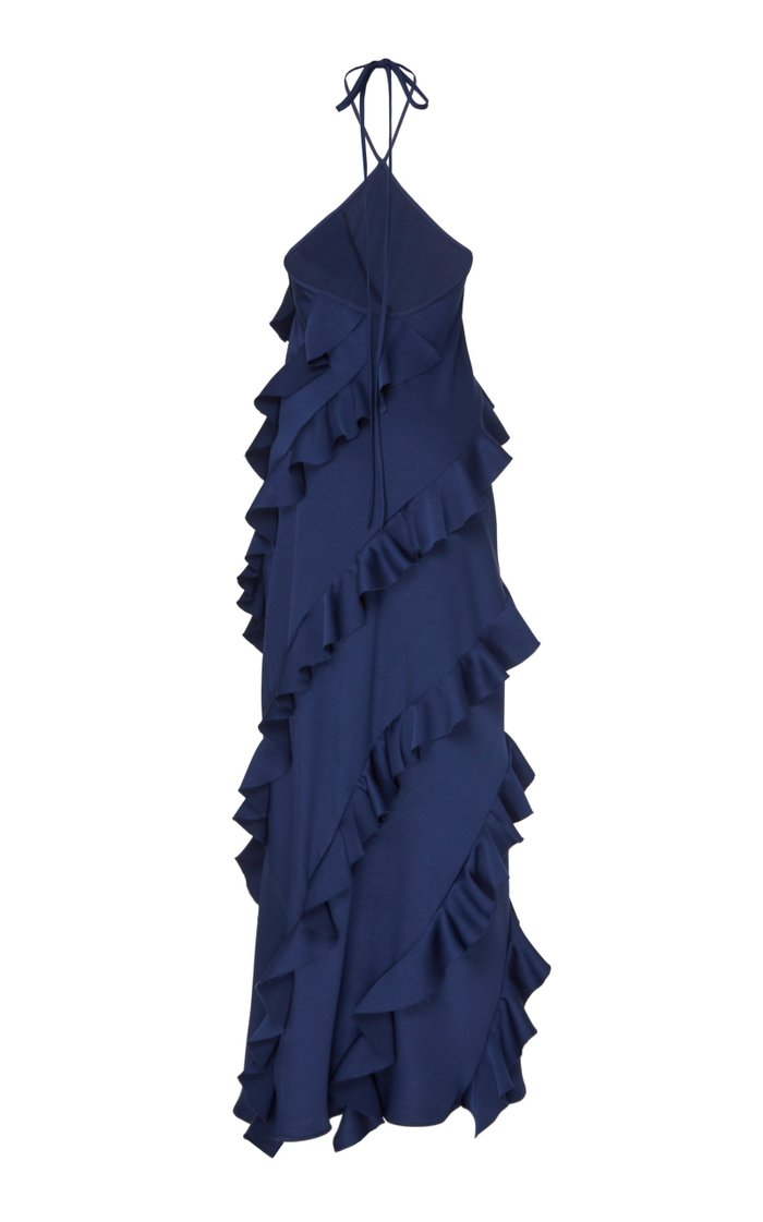 The No Worries Ruffled Crepe Halterneck Dress