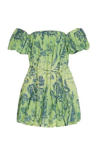 Ash Off-The-Shoulder Printed Broadcloth Mini Dress