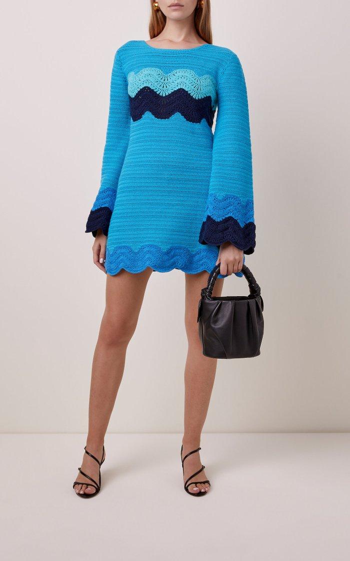 Antoni Crochet-Knit Cotton Mini Dress