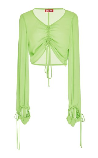 Blossom Cinch-Tie Gauze Crop Top