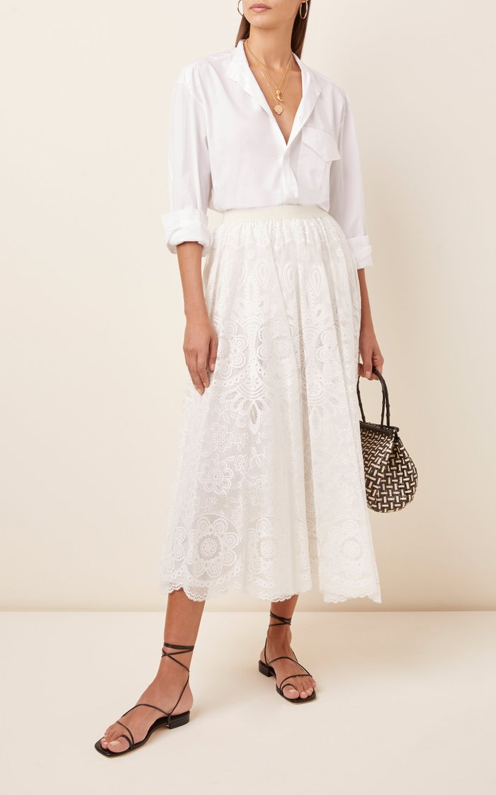Chantilly Lace Cotton-Blend Maxi Skirt