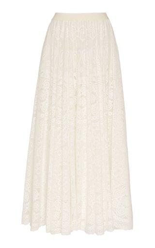 Chantilly Lace Cotton-Blend Maxi Skirt