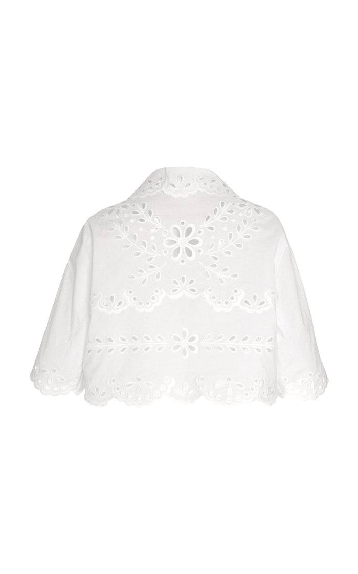 Cropped Broderie Anglaise Cotton Top
