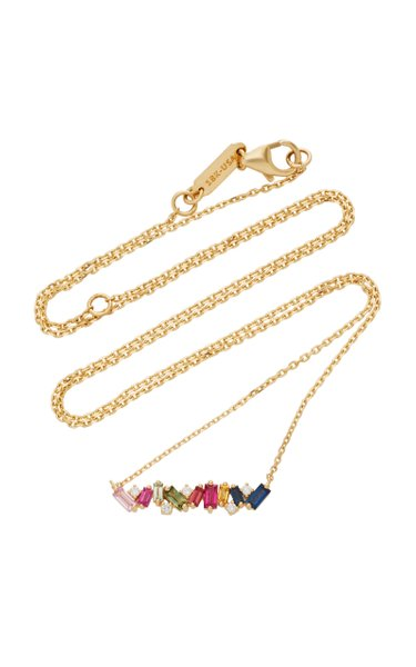 18K Gold, Diamond and Sapphire Necklace