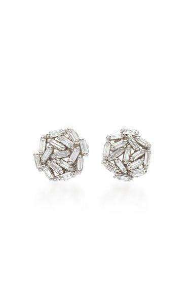 18K White Gold Diamond Baguette Earrings