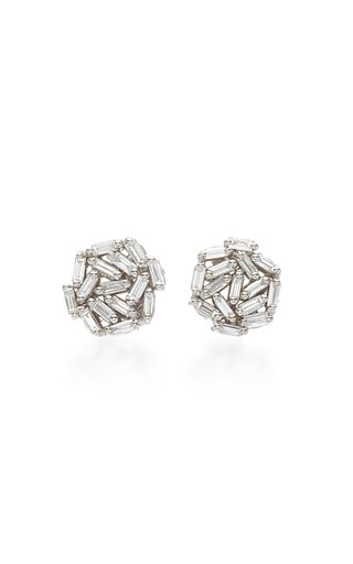 18K White Gold Diamond Baguette Earrings