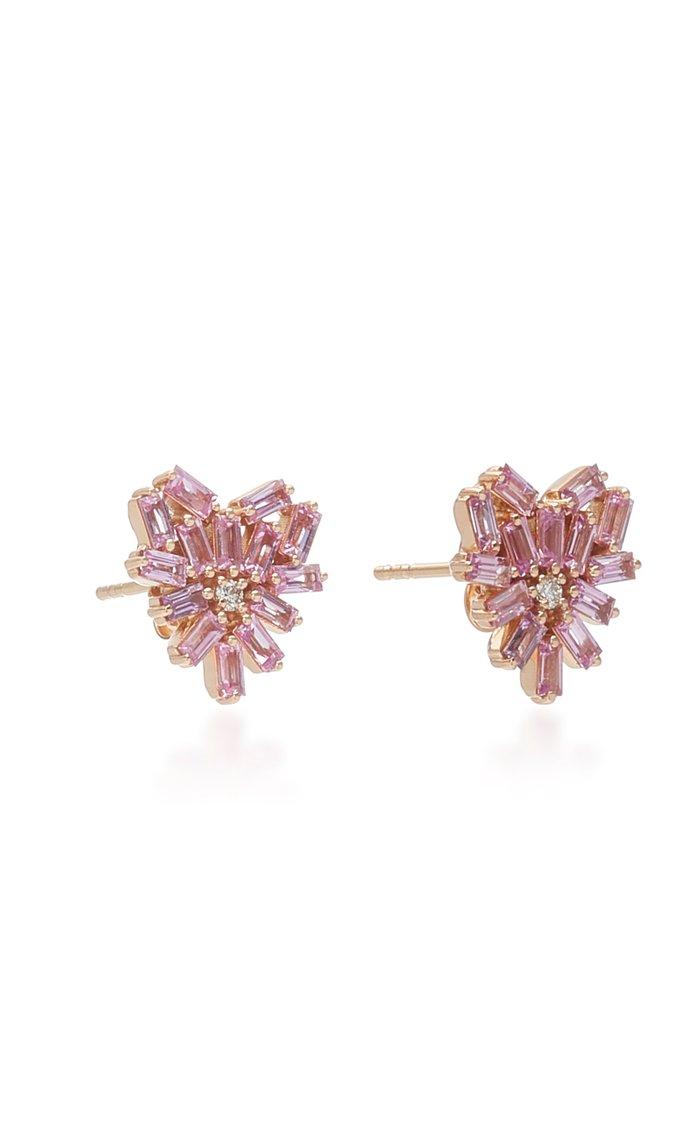 Angel 18K Rose Gold, Sapphire and Diamond Earrings