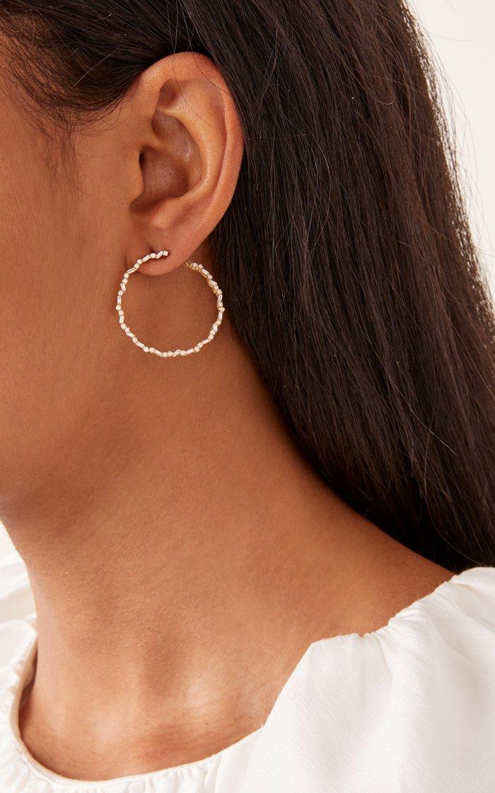 Sideways Spiral 18K Rose Gold Hoop Earrings