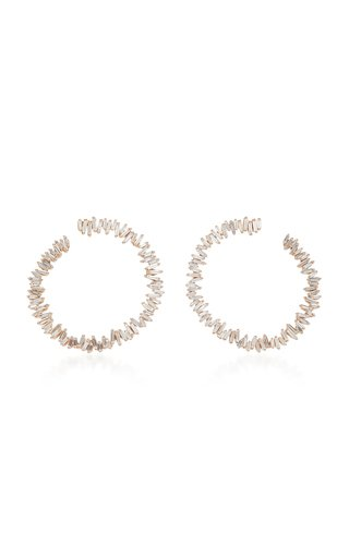 Sideways Spiral 18K Rose Gold Hoop Earrings