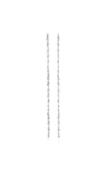 18K White Gold Chain Linear Earrings