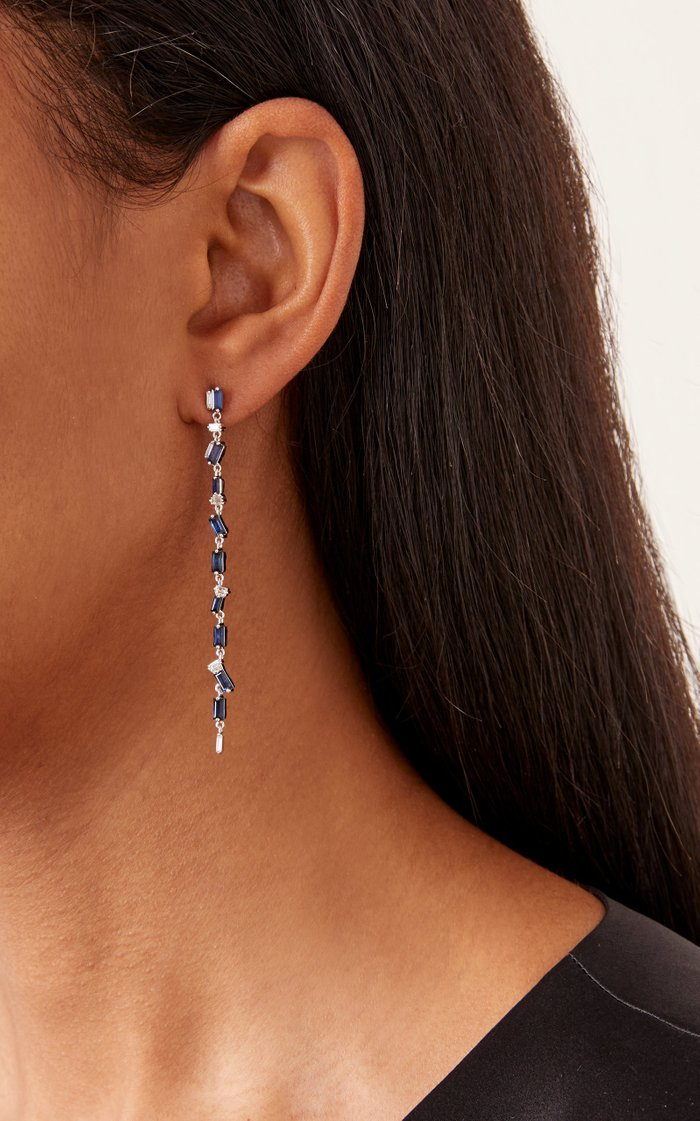 18K White Gold and Sapphire Dangle Earrings