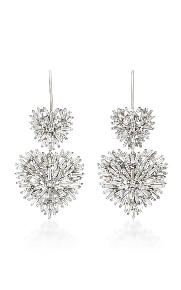 Double Heart 18K White-Gold Drop Earrings