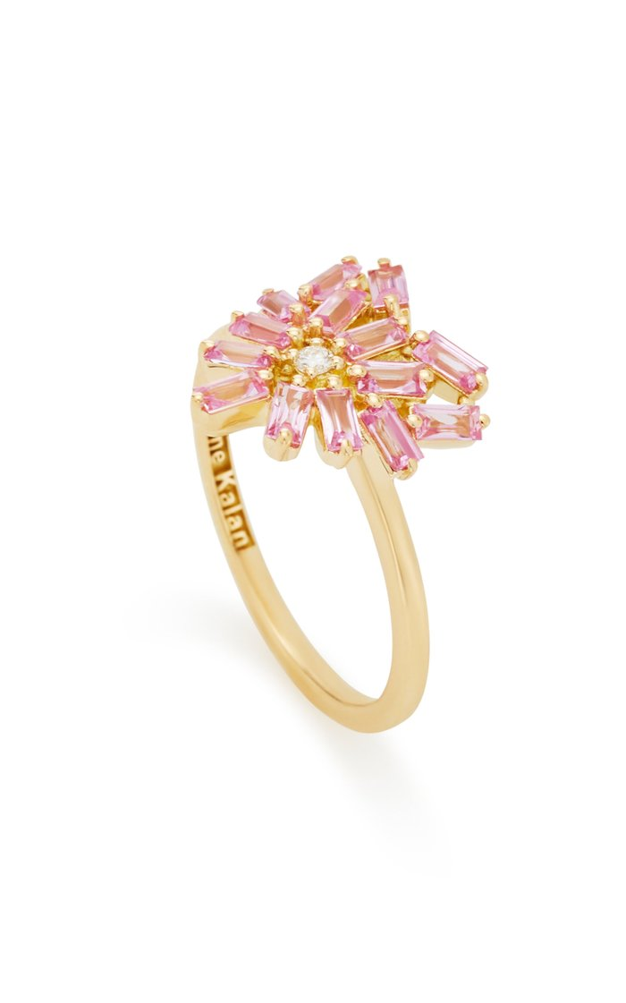 Heart-Shaped 18K Gold and Pink Sapphire Ring