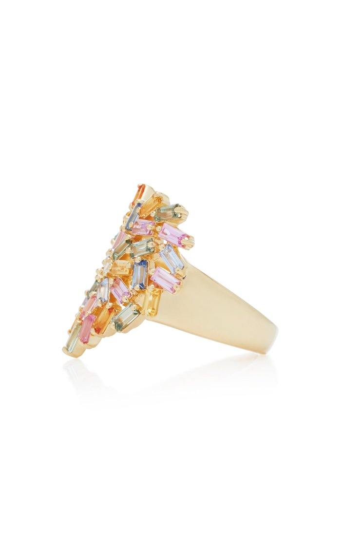 18K Yellow-Gold and Diamond Pastel Heart Ring