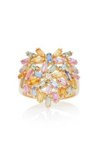 18K Yellow-Gold and Diamond Pastel Heart Ring