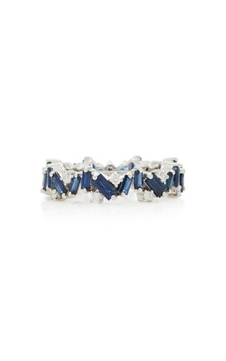 18K White-Gold and Blue Sapphire Ring
