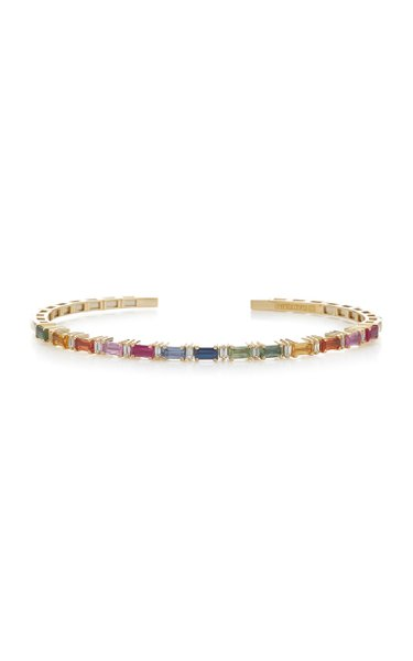 18K Yellow Gold, White Diamonds and Sapphire Bracelet