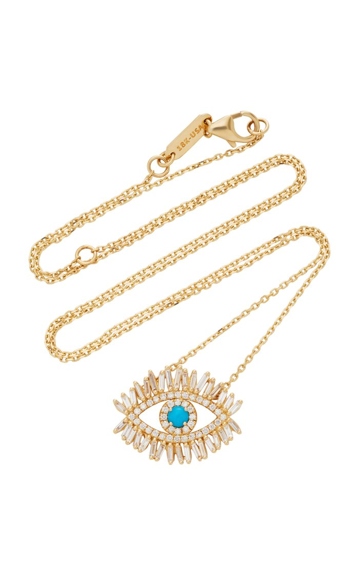 18K Yellow Gold and White Diamond Evil Eye Necklace