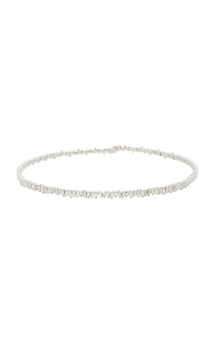 18K White-Gold and Diamond Baguette Choker