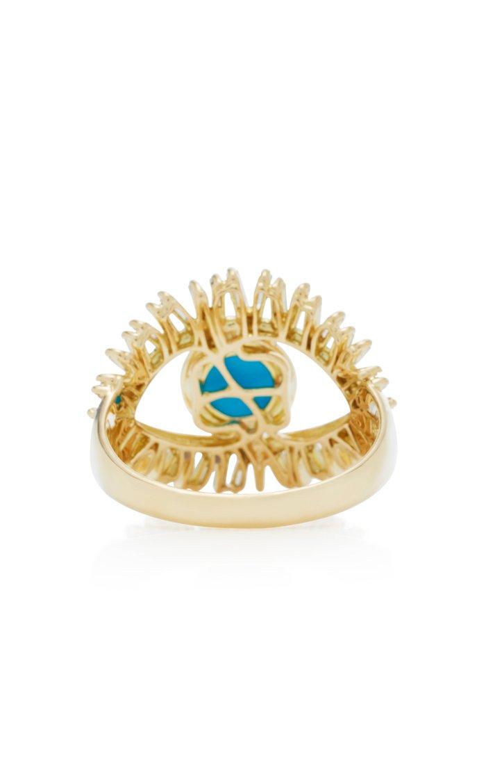 18K Yellow Gold, White Diamond and Turquoise Evil Eye Ring