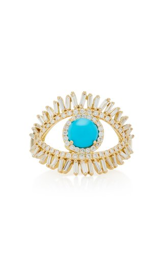 18K Yellow Gold, White Diamond and Turquoise Evil Eye Ring