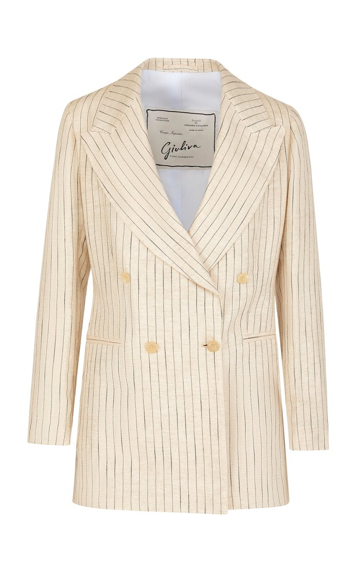 The Stella Pinstriped Linen Blazer