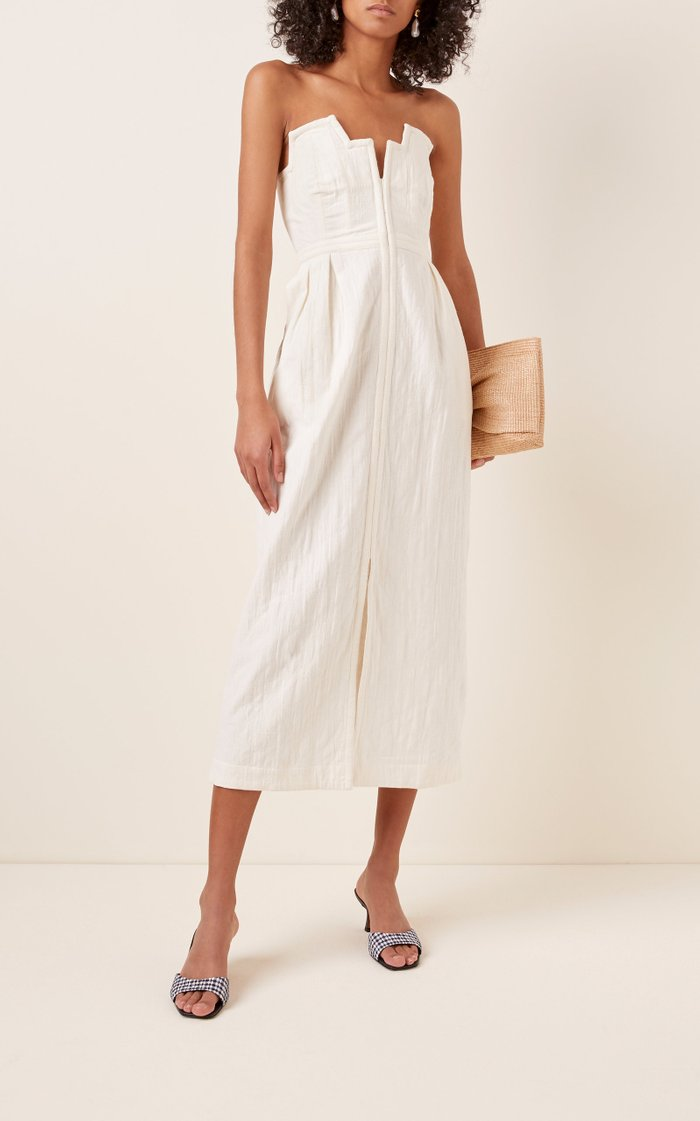 Aurelia Strapless Cotton and Linen-Blend Midi Dress