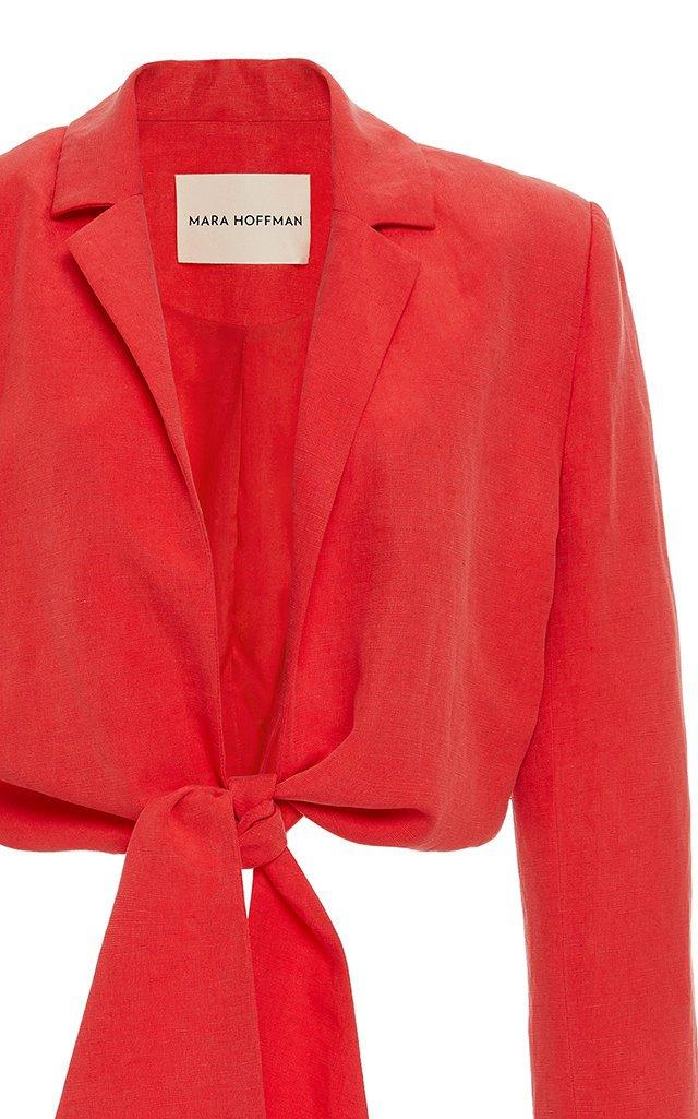 Catalina Tie-Front Linen-Blend Blazer Top