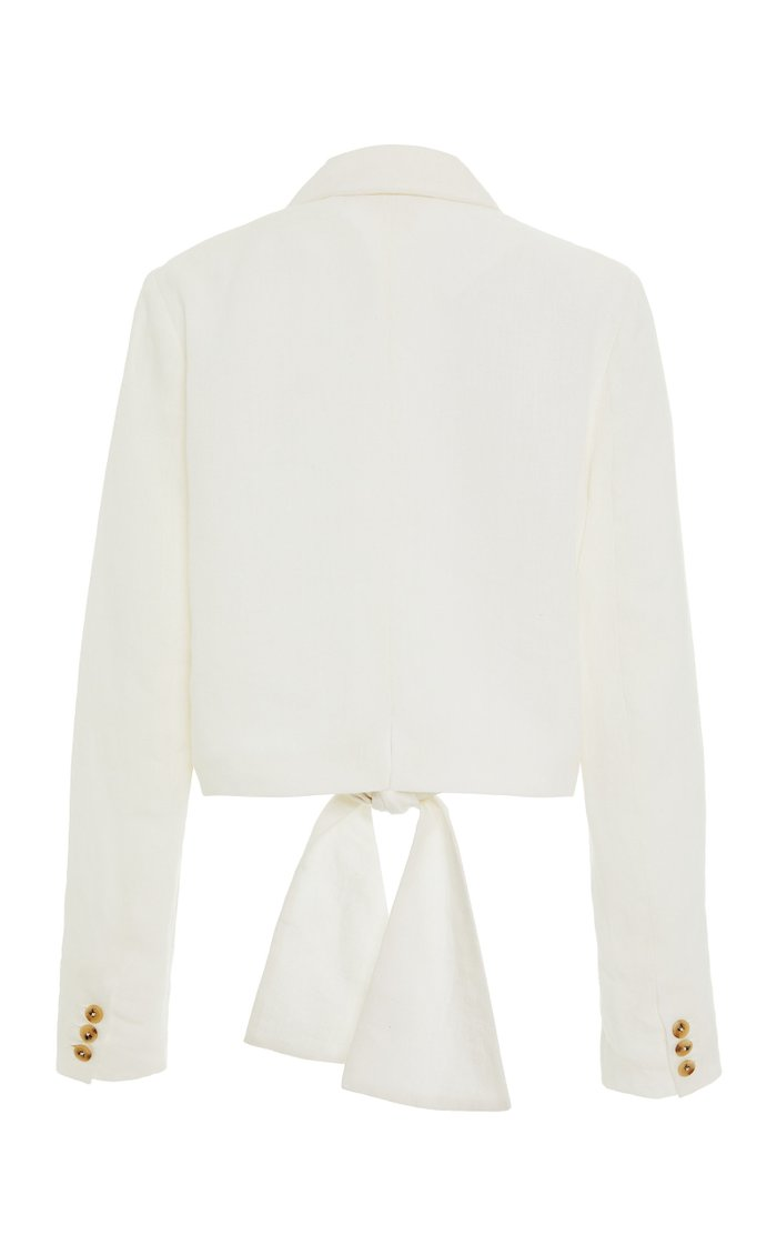 Catalina Tie-Front Hemp Blazer Top