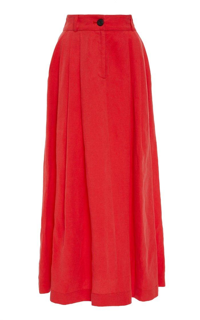 Tulay Tencel and Linen-Blend Midi Skirt