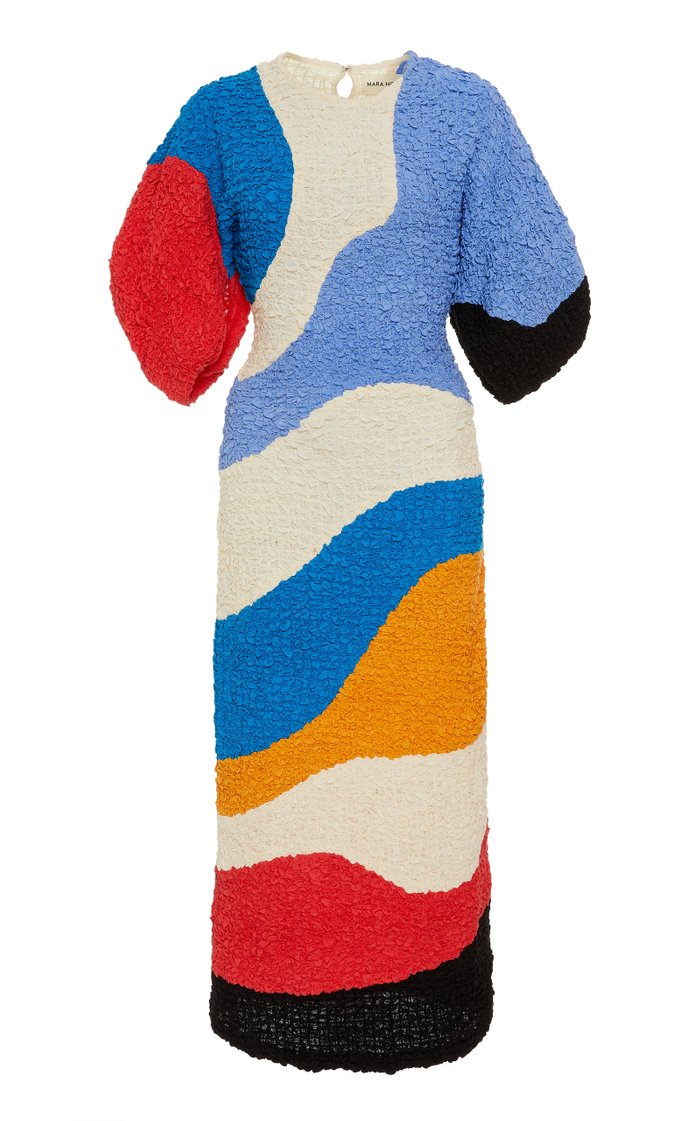 Freya Color-Block Cloqué Midi Dress
