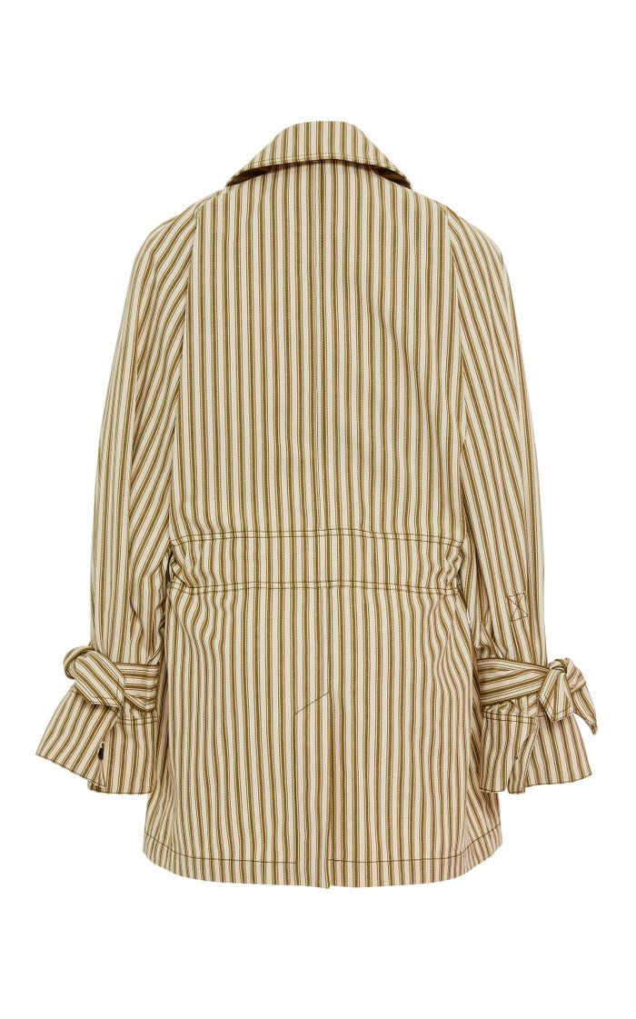 Arlo Tie-Front Striped Twill Jacket