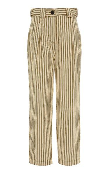 Jade Striped Twill Straight-Leg Pants