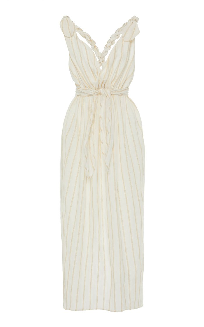 Calypso Striped Linen-Blend Midi Dress