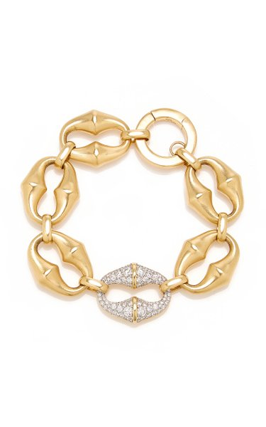 18K Yellow Gold and Platinum Chrona Link Bracelet With Diamonds