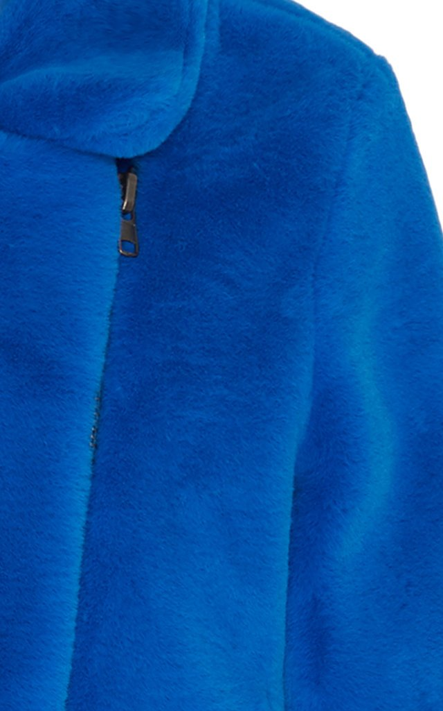 Tukio Faux Fur Blue Biker Jacket