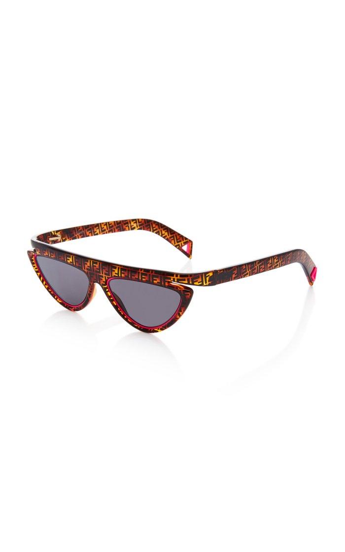 Logo Tortoiseshell Acetate Cat-Eye Sunglasses