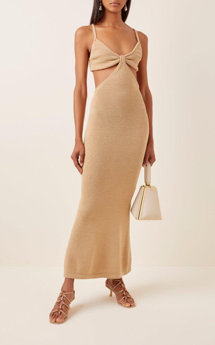 Serita Cotton-Blend Ribbed-Knit Cutout Dress