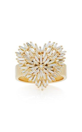 18K Yellow-Gold and White Diamond Heart Ring