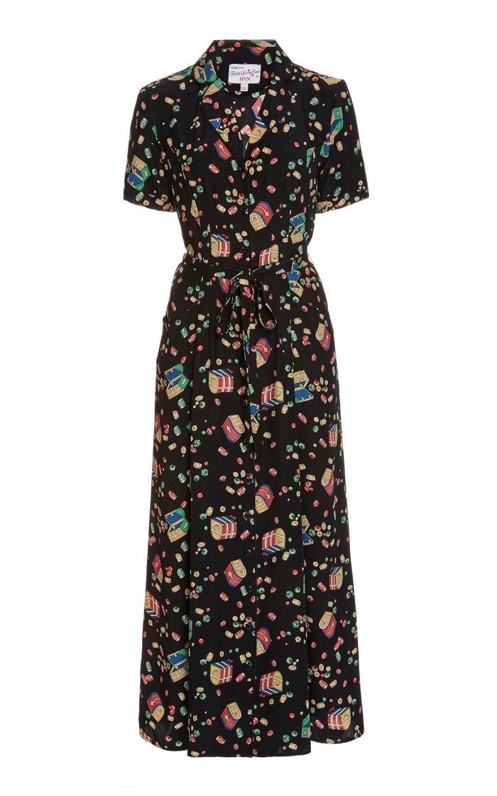 Long Maria Printed Woven-Silk Midi Dress