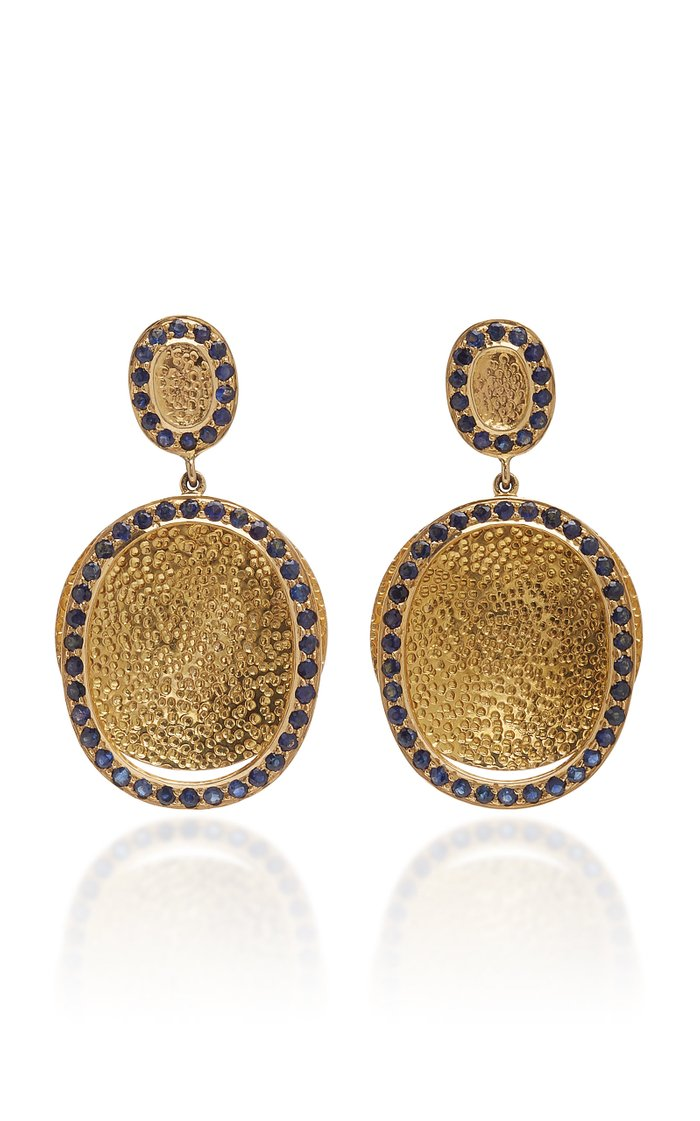 14K Gold And Sapphire Earrings
