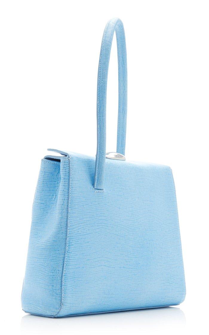 Madame Lizard-Effect Leather Top Handle Bag
