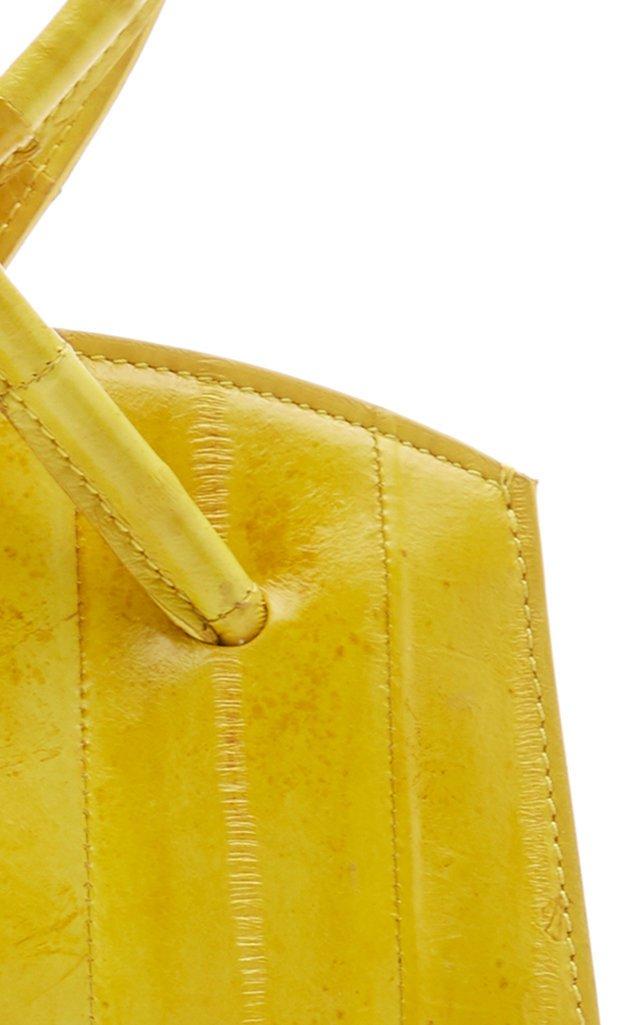 Twisted Wristlet Eel-Skin Top Handle Bag