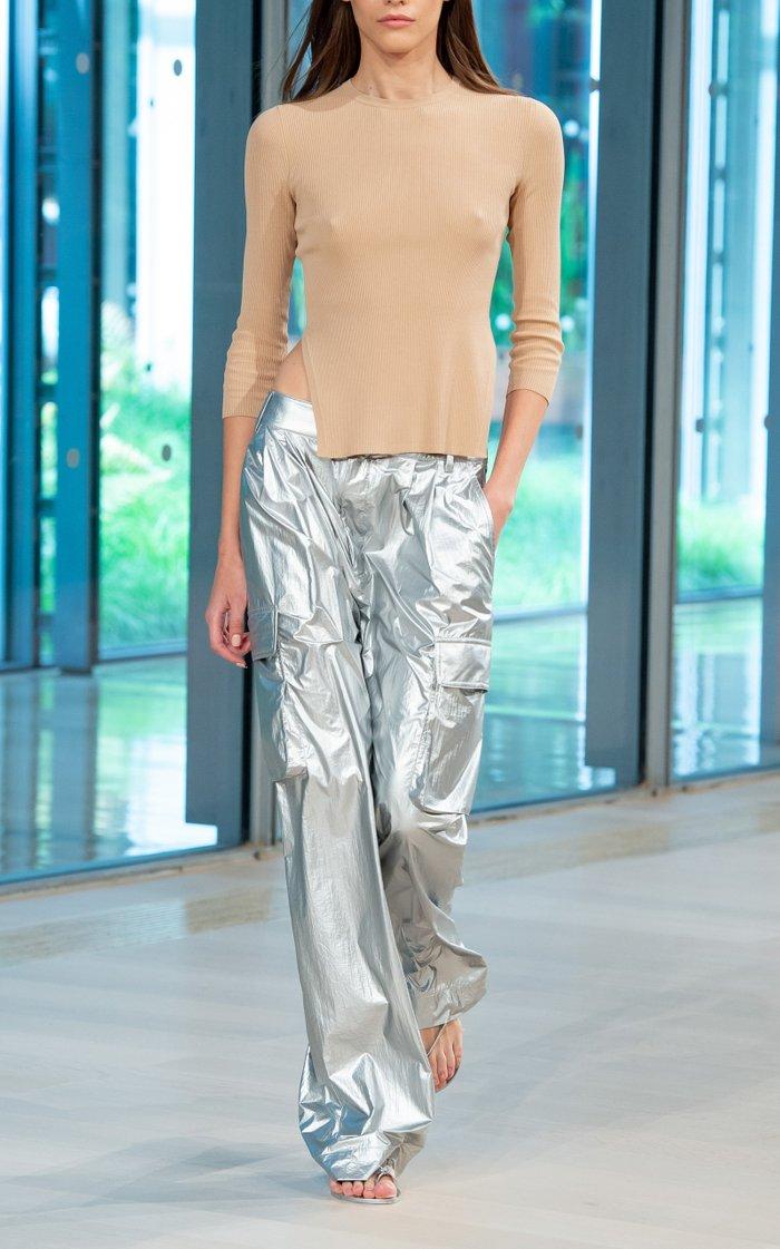 Metallic Nylon Pleated Cargo Pant